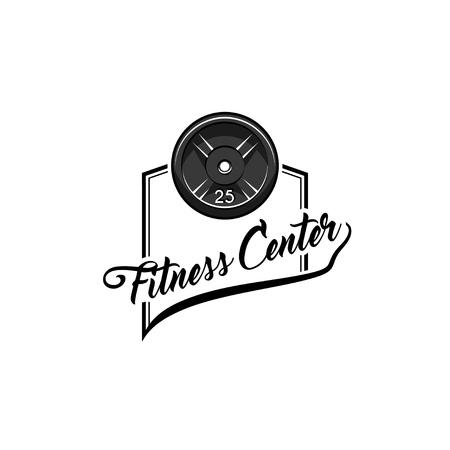 Disk weight barbell. Fitness center label. Sport badge. Fitness club emblem. Bodybuilding. Vector illustration.
