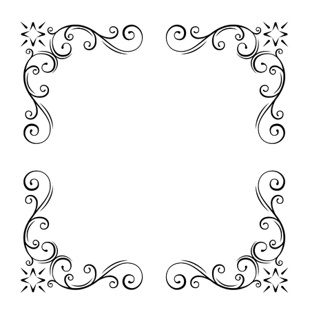 Decorative filigree Corners, Ornate borders. Swirl, scroll flourish design elements. Wedding invitation, Greeting card, Save the date. Vector illustration.