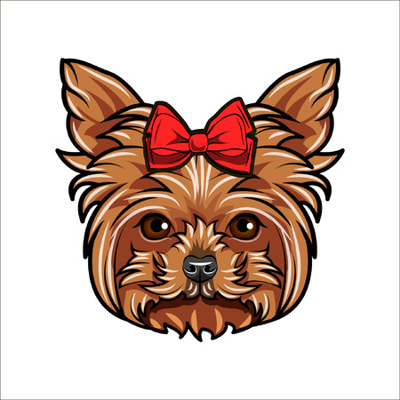 Yorkshire terrier. Bow icon. Decorative red bow. Dog decorated with a bow on her head. Yorkshire terrier breed. Dog portrait. Dogs accessory. Vector illustration.