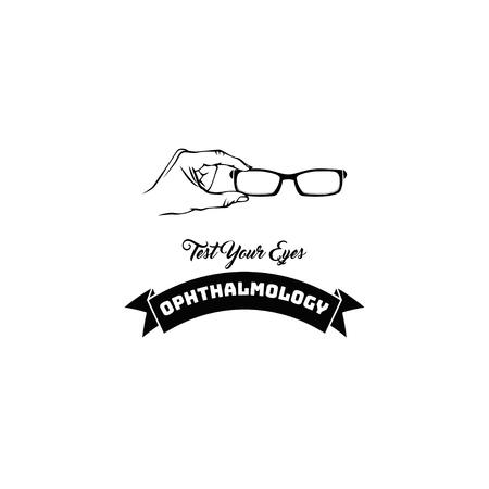 Eye glasses icon. Ophthalmology label. Test your eyes lettering. Oculist badge. Illustration