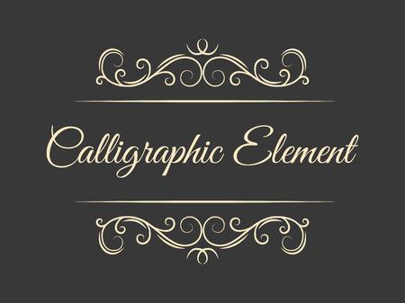 Calligraphic flourish design elements. Page decoration. Elegant vintage borders and dividers for greeting card, retro party, wedding invitation. Filigree swirls. Vector illustration. Çizim