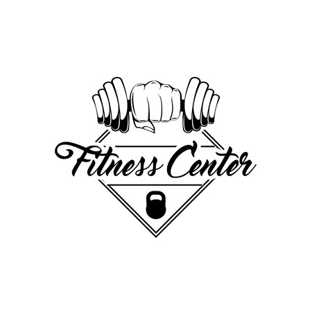 Fitness badge. Dumbbel, Fist, Kettlebell. Sport icons. Fitness center, club label. Sport equipment. Hand holding weight. Vector illustration.
