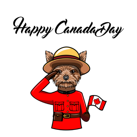 Yorkshire terrier. Canada day holiday greeting card. Dog wearing in Royal Canadian Mounted Police form. Dog portrait. National holiday. Vector illustration.