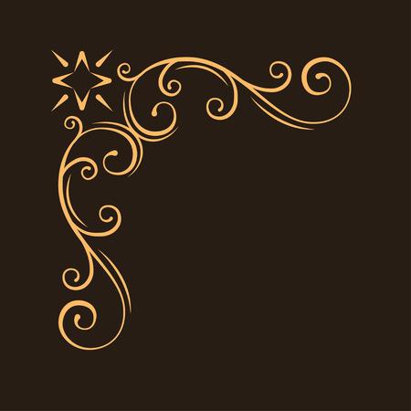 Ornamental decorative corner. Filigree frame. Antique swirl page decoration. Vintage style. Scroll elegance design element. Vector illustration. Çizim