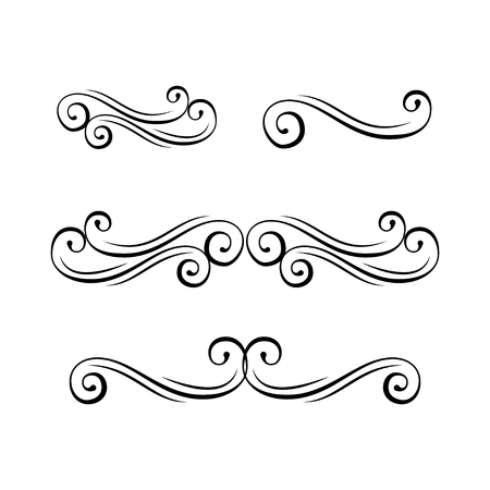 Decorative swirls. Curl, calligraphy flourish design elements. Ornate dividers. Romantic design element for wedding cards, in invitations and save the date cards. Vector illustration.