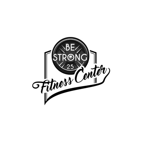 Fitness badge. Disk weight, barbell disk. Bodybuiding, Be Strong inscriptions. Sport icon, Fitness club label. Vector illustration.