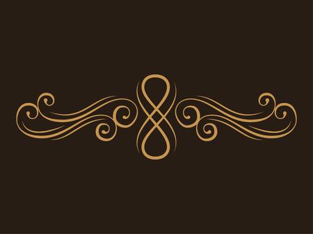 Calligraphic page divider. Swirls, Scroll filigree design element. Page border. Ornamental design. Vector illustration.
