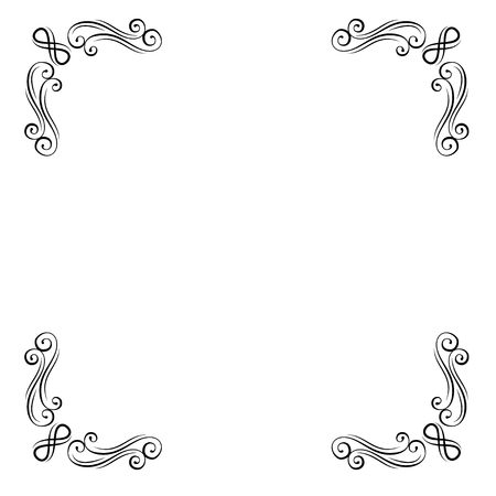 Vintage decorative corners collection. Calligraphic ornamental filigree design element. Swirls. Page decoration. Orante frame. Vector illustration.
