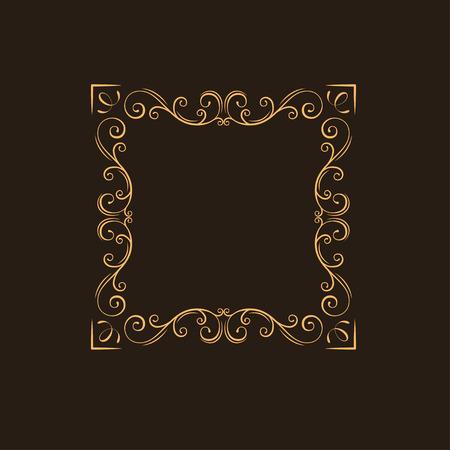 Ornamental floral frame. Swirls, decorative border. Flourish page decoration. Vintage style. Ornate divider. Vector illustration.
