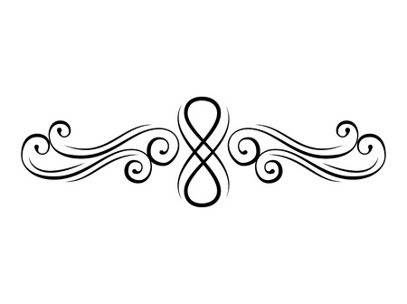 Floral swirl. Calligraphic decorative elements. Page divider, border. Vintage flourish style. Ornament. Vector illustration. Stock Illustratie