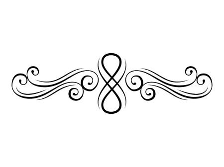 Remolino floral. Elementos decorativos caligráficos. Divisor de página, borde. Estilo vintage florecer. Ornamento. Ilustración de vector.