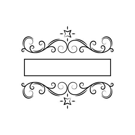 Swirly filigree frame decor. Ornate page decoration. Flourish design element. Wedding invitation, Save the date card, Greeting card. Vector illustration.