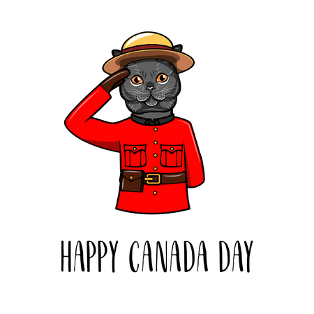 Gray cat. Happy Canada day. Dog wearing in Royal Canadian Mounted Police form. Greeting card. Vector illustration.