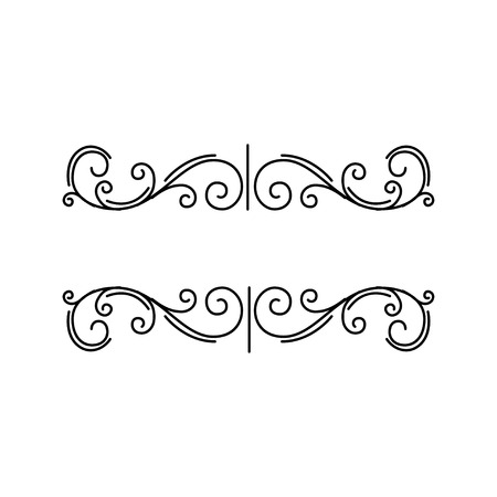 Decorative elements. Page floral border. Prnamental page decoration. Swirls, Curls. Design element. Vector illustration. Çizim