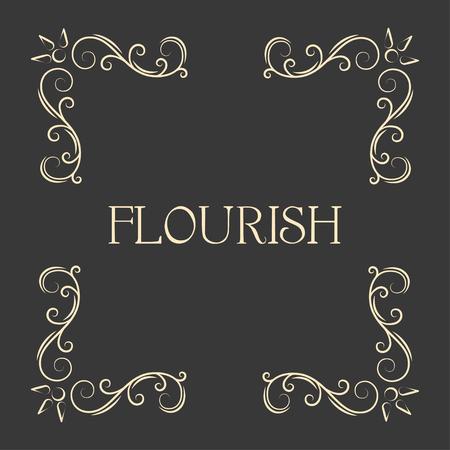 Flourish decorative corners. Calligraphy page decoration. Ornamental design element. Wedding invitation, Save the date card, Greeting card. Vector illustration.