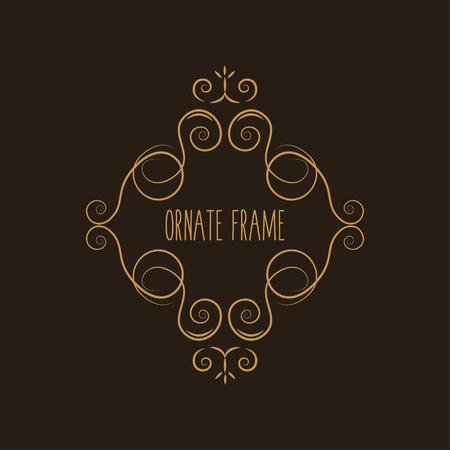 Decorative vintage frame, Calligraphic ornamental page decoration. Swirls, Scrolls, Curls. Greeting card, Wedding invitation, Save the date cards design. Vector illustration.