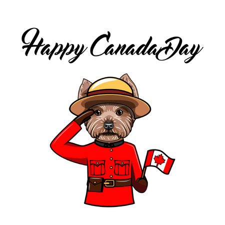 Yorkshire terrier. Happy Canada day. Canadian flag. Dog wearing in Royal Canadian Mounted Police form. Greeting card. Vector illustration. Stock Illustratie