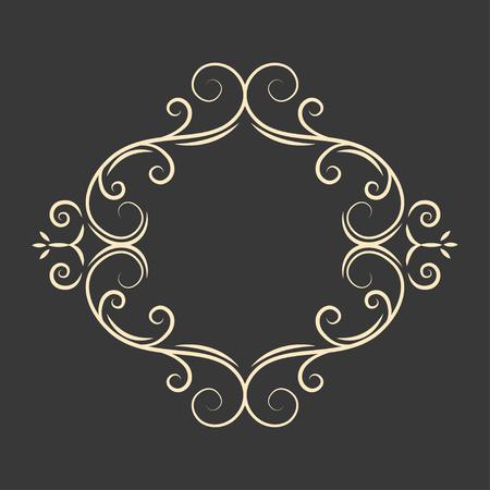 Calligraphy penmanship oval frame. Decorative floral design element. Page border. Vintage style. Vector illustration.