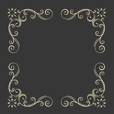 Ornamental decorative frame. Swirls, floral filigree elements. Vintage style. Wedding invitation, Greeting card design. Vector illustration. Çizim