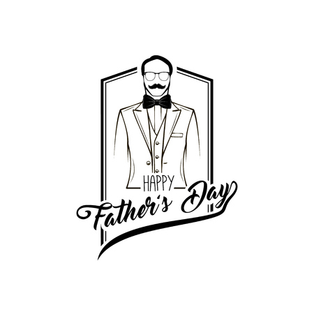 Man. Father day. Mustaches, Bow tie, Glasses, Elegant suit. Greeting card design. Happy fathers fay greeting card. Vector illustration.