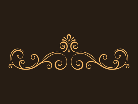Decorative page dividers, Swirls, Curls. Calligraphic filigree page border. Vintage style. Vector illustration. Stock Illustratie