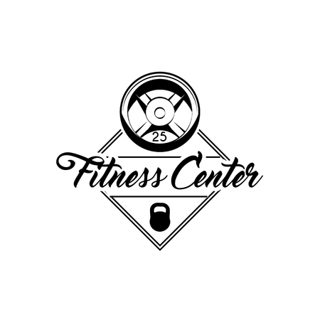Barbell disks, Kettlebell. Fitness center label emblem. Sport equipment. Bodybuilding . Vector illustration.