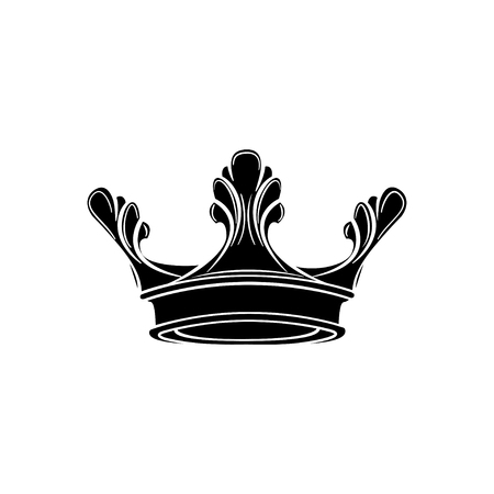 Royal crown silhouette. Design element. Vector illustration isolated on white background. 일러스트