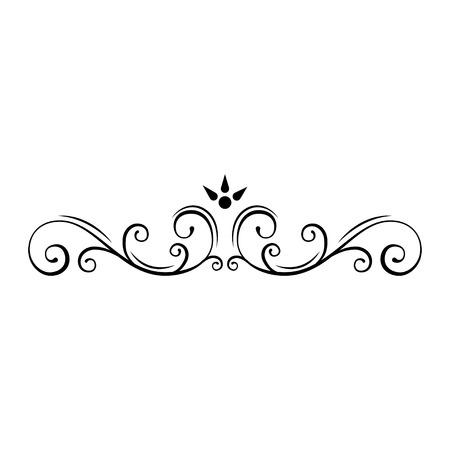 Decorative page divider. Swirls, floral frame. Ornamental border. Callirgaphic flourish scroll design element. Wedding invitation, Greeting card, Save the date card. Vector illustration.