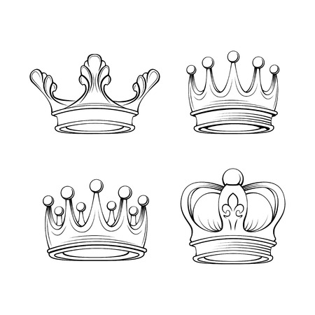 Crowns set. Royal symbols. Tiara jewelry. Design elements collection. Vector illustration. Illustration