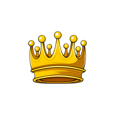 Golden crown icon. Royal symbol. Design element. Vector illustration.