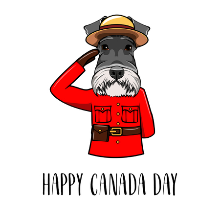 Schnauzer dog. Dog wearing in Royal Canadian Mounted Police form. Happy Canada day greeting card. Vector illustration. 写真素材 - 101740396