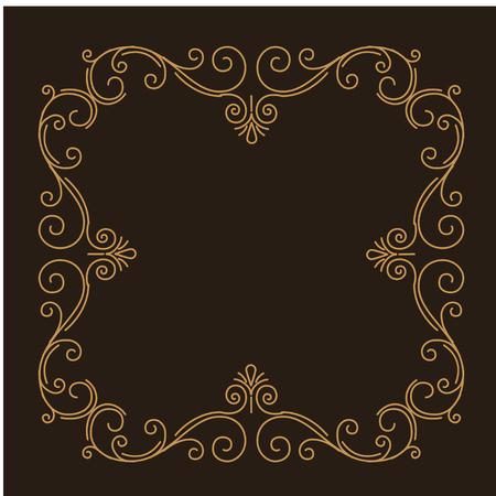 Decorative filigree frame. Swirls, Curls. Ornate calligraphic page divider. Book decor. Holiday greeting card, Wedding invitation. Vector illustration.