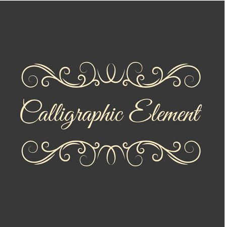Calligraphic Page Divider, vintage ornament. Decorative border line. Flourish pattern. Save the date card, Wedding invitation design. Vector illustration.