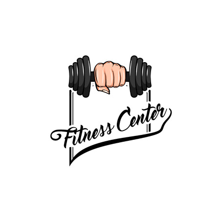 Fitness badge. Dumbbell icon, Fist. Fitness club , Fitness center label. Hand holding weight. Vector illustration. Illustration
