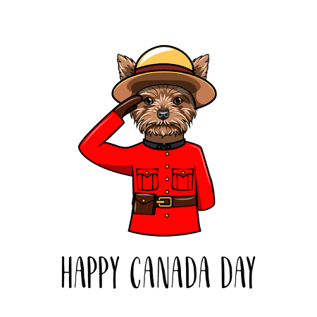 Yorkshire terrier dog. Happy Canada day greeting card. Dog wearing in form of the Royal Canadian Mounted Police. Vector illustration. Ilustração