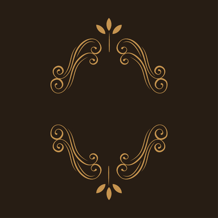 Ornamental floral frame. Page decoration. Swirls, flourish scroll design element. Wedding invitation, Greeting card. Vector illustration.