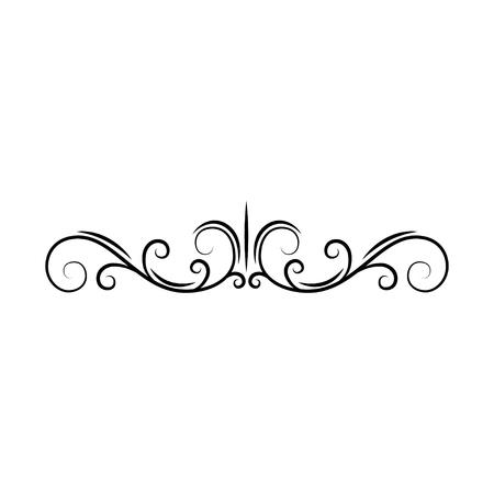 Flourish page divider. Decorative scroll page border. Swirls, curls. Book decor. Filigree ornamental frame. Vector illustration.