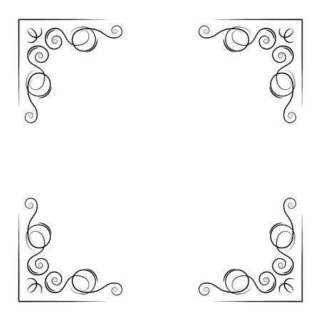 Coins décoratifs ornementaux. Lignes tourbillonnantes, bordure de pade en filigrane. Faites défiler la calligraphie. Carte de voeux, enregistrez la conception de la carte de date. Illustration vectorielle.