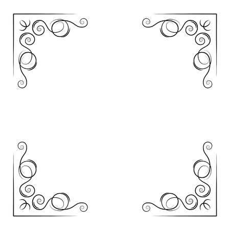 Ornamental decorative corners. Swirly lines, filigree pade border. Scroll calligraphy. Greeting card, Save the date card design. Vector illustration. Illustration