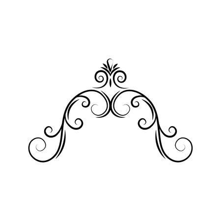 Semi-oval flourish swirl frame. Decorative page border. Filigree divider. Calligraphy design element. Vector illustration.