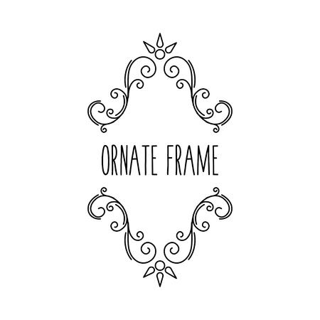 Ornate frame. Calligraphic swirls, flourish decor. Filigree pattern, Scroll design element. Wedding invitation, Greeting card. Vector illustration. 矢量图像