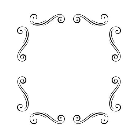 Flourish frame. Swirls. Dividers, vignettes, page decoration template, set of calligraphic decorative design elements in retro style. Vector illustration. Illustration