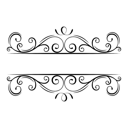 Calligraphic flourish frame. Decorative ornate border. Swirls, Curls, Scroll filigree design elements. Vector illustration.