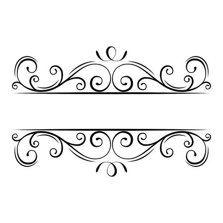 Kalligrafisch bloeit frame. Decoratieve sierlijke rand. Swirls, Curls, Scroll filigraan ontwerpelementen. Vector illustratie. Vector Illustratie