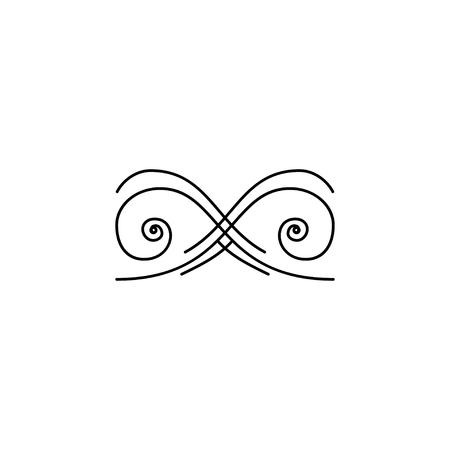 Decorative filigree design element. Ornamental page divider. Book decor. Calligraphic art element. Page decoration, border. Vector illustration. 矢量图像