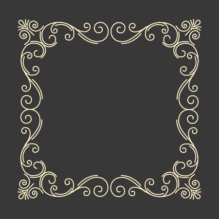 Flourish calligraphic frame. Ornate antique page divider. Vintage swirly pattern. Save the date card design. Vector illustration.