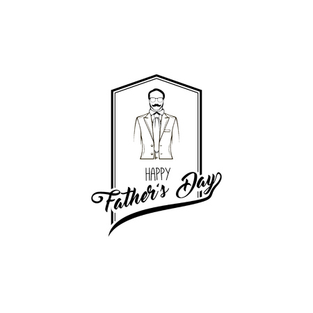 Happy father day card. Suit, Necktie, Mustache, Glasses. Fathers day symbols. Greeting card. Vector illustration.