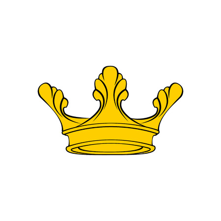 Golden Crown icon. Royal symbol. Cartoon design element. Vector illustration.