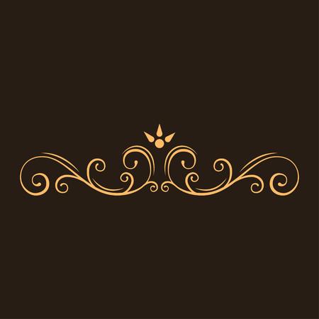 Calligraphic decorative element. Page filigree divider, ornamental flourish border. Swirls, scroll elements. Greeting card, Wedding invitation design. Vector illustration.