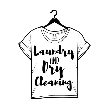 T-shirt badge. Laundry label, Dry cleaning.